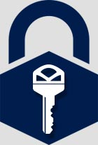 Lock with house key icon inside