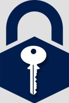 Lock with commercial key icon inside it